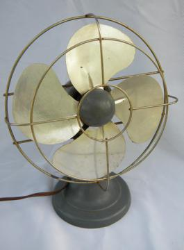 Vintage A C Gilbert Polar Cub oscillating machine-age office desk fan
