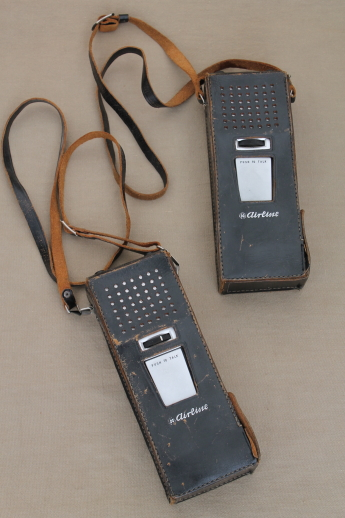 Vintage Airline hand held 2-way radios, walkie-talkies in original leather cases