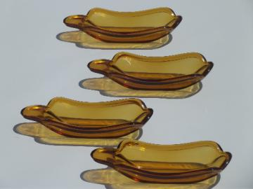 Vintage amber glass banana split bowls, set of 4 ice cream sundae dishes