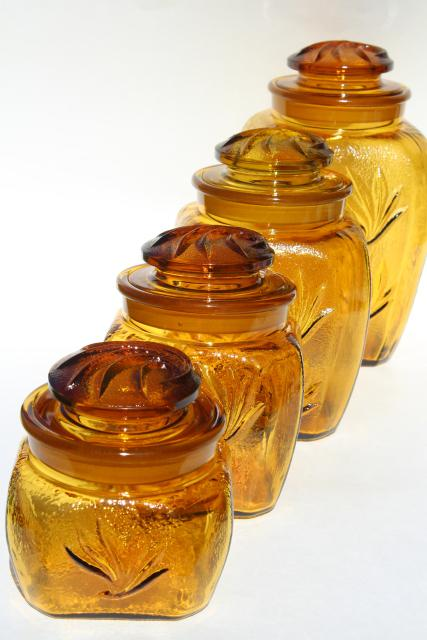 vintage glass canisters kitchen vintage glass canister jars set sandscroll textured 22581