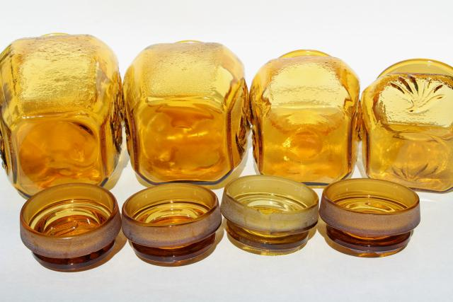 vintage amber glass canister jars set, Sandscroll textured glass canisters L E Smith 1960s 70s