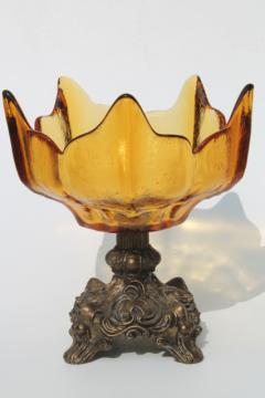 vintage amber glass compote / fall centerpiece, flower shaped bowl w/ ornate gold metal pedestal