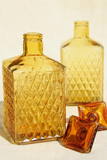 vintage amber glass decanters, square decanter bottles, 1960s retro barware