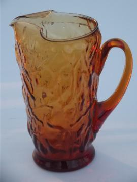Vintage amber glass pitcher, 60s 70s retro crinkle textured glass