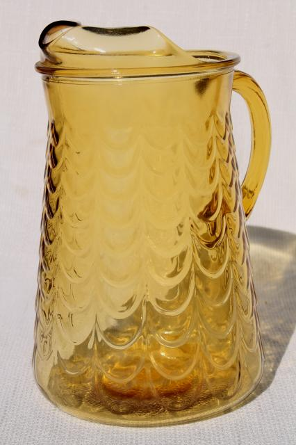vintage amber glass pitcher, Libbey drape pattern fishscale textured glass