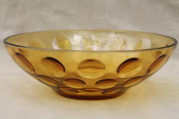 Vintage amber glass salad bowl, coin spot mod dots, Hazel Atlas Eldorado?