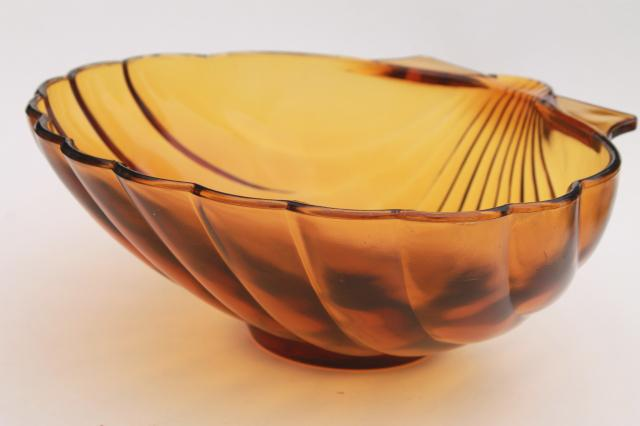 vintage amber glass seashell shape salad bowl, large heavy glass sea shell