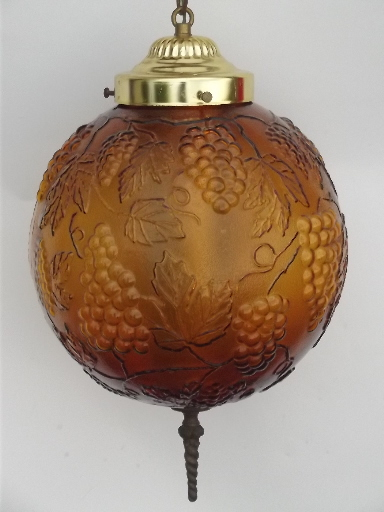 Vintage Amber Glass Swag Lamp Swag Chain Hanging Light W