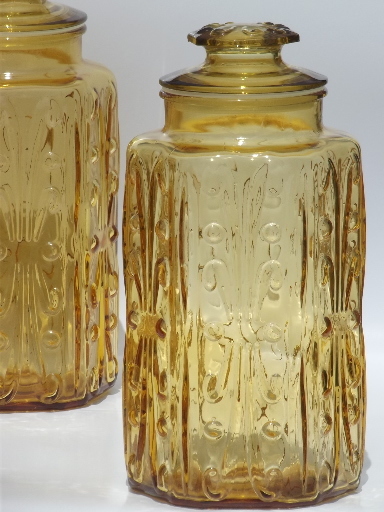 Vintage amber glass tall canisters kitchen canister jars for Kitchen canisters set 4
