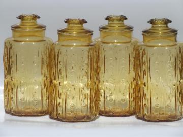 Vintage amber glass tall canisters, kitchen canister jars set of 4