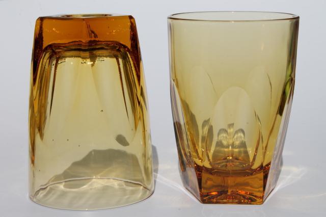 Vintage Amber Glass Tumblers Set Mod Angular Geometric