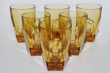vintage amber glass tumblers set, mod angular geometric shape drinking glasses