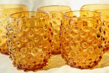 vintage amber hobnail glass tumblers, big double old fashioned drinking glasses