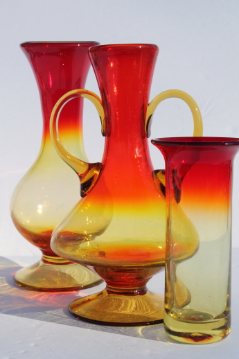 Vintage Amberina Glass Vases Collection Amber Orange Red Shaded Art