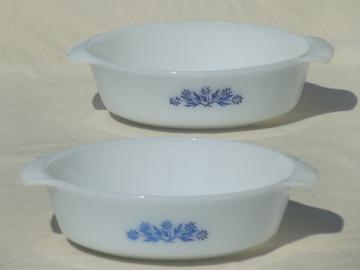 Vintage Anchor Hocking Fire-King blue corn flower milk glass casseroles