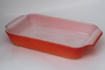 Vintage Anchor Hocking Fire-King milk white glass pan w/ fired on orange color
