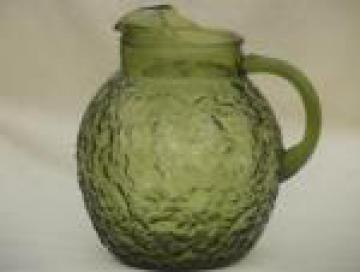 Vintage Anchor Hocking Lido crinkle glass pitcher, retro avocado green glass