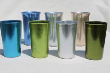 Vintage anodized aluminum tumblers, retro colored metal drinking glasses spun aluminum