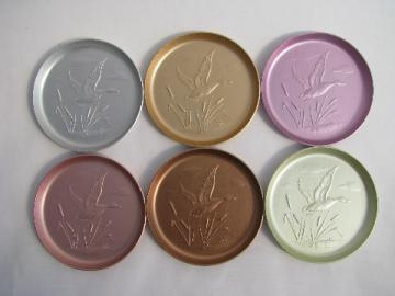 Vintage anodized colored aluminum coasters, wrought game birds design