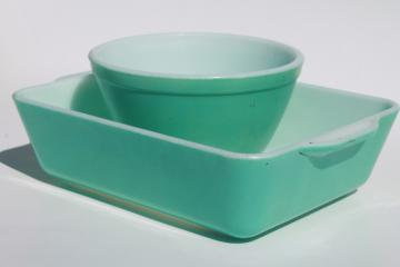 vintage aqua turquoise Pyrex baking pan or fridge dish & small mixing bowl