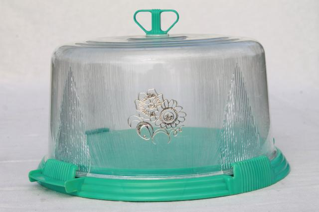 vintage aqua turquoise blue plastic cake keeper saver cake plate w/ clear dome cover : cake plate with dome cover - pezcame.com