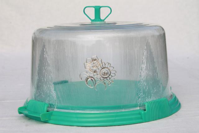 vintage aqua turquoise blue plastic cake keeper saver, cake plate w ...