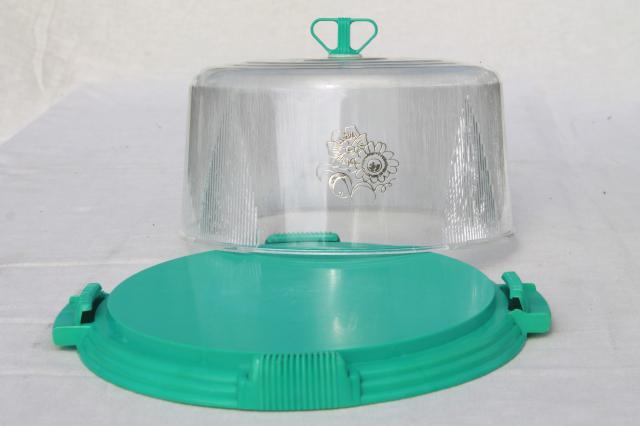 aqua turquoise blue plastic cake keeper saver, cake plate w/ clear ...