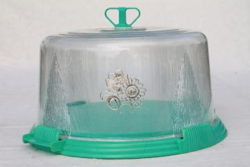 vintage aqua turquoise blue plastic cake keeper saver, cake plate w/ clear dome cover