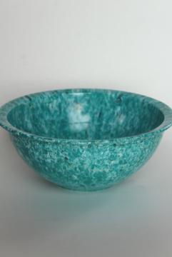 vintage aqua / white confetti Brookpark melmac mixing bowl Texasware style spatter
