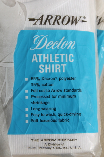 Vintage Arrow Decton undershirts in original package, mens small ribbed tank athletic shirts