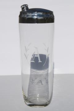 Vintage art deco glass cocktail shaker, letter A monogram etched glass mixer jar w/ lid
