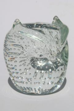 vintage art glass owl paperweight, crystal clear hand-blown glass w/ controlled bubbles