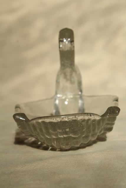 vintage art glass swan dish, hand blown crystal clear glass w/ controlled bubbles