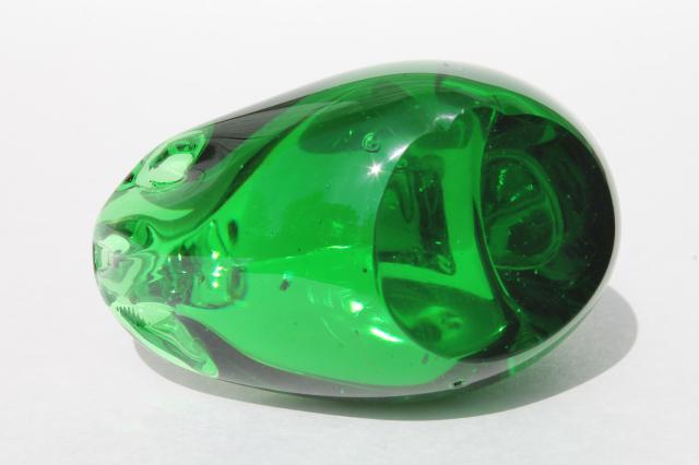 Emerald Art Glass art glass swan paperweight figurine animal, emerald green glass bird
