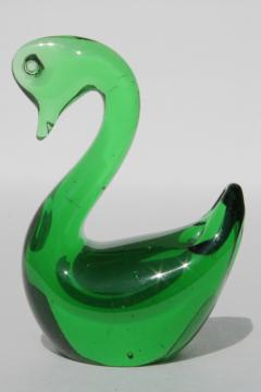 vintage art glass swan paperweight figurine animal, emerald green glass bird