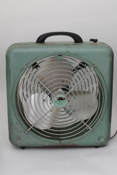 Vintage Atlas Aire box fan, machine age industrial floor or window fan