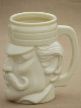 Vintage Avon custard milk glass mustache mug, Casey At The Bat mug