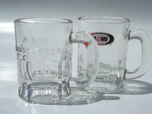 Vintage baby size A & W root beer glass mugs, embossed and print logos