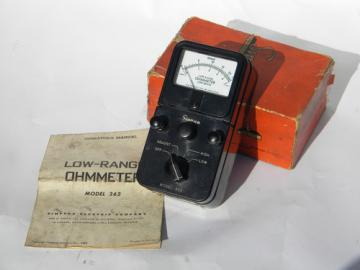 Vintage bakelite Simpson model 362 low range ohmmeter w/manual & original box