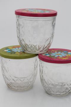 Vintage Ball quilted crystal glass jelly jars w/ retro flower print lids