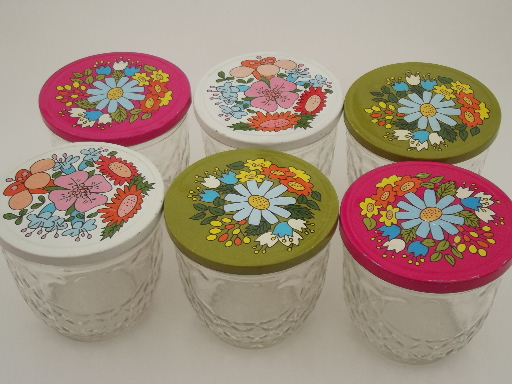 Ball quilted crystal glass jelly jars w/ retro flower print lids : ball quilted crystal - Adamdwight.com