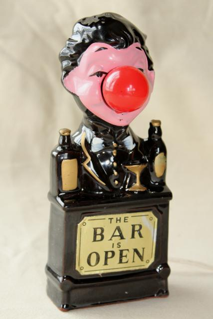 Vintage bar light charlie chaplin red nose drinker made in japan vintage bar light charlie chaplin red nose drinker made in japan ceramic mozeypictures Images