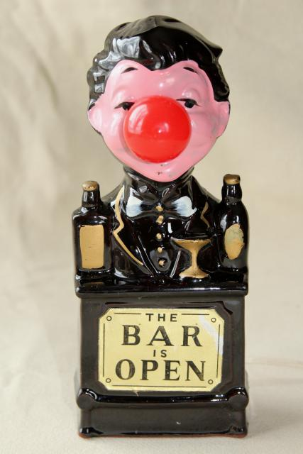 vintage bar light, Charlie Chaplin red nose drinker, made in Japan ceramic