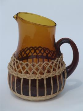 Vintage basket bottle pitcher, amber glass wine pitcher made in Spain