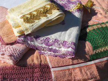 Vintage bath & hand towels lot, funky colors chunky cotton lace crochet