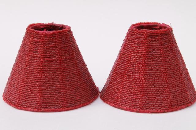 Vintage Beaded Gl Lamp Shades Pair Cranberry Red Bead Lampshades