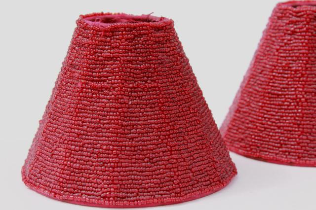 Beaded glass lamp shades pair cranberry red glass bead lampshades vintage beaded glass lamp shades pair cranberry red glass bead lampshades aloadofball Gallery