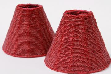 vintage beaded glass lamp shades, pair cranberry red glass bead lampshades