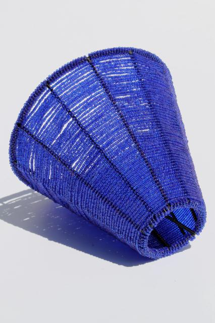 Vintage beaded wire lamp shade made in india cobalt blue glass seed vintage beaded wire lamp shade made in india cobalt blue glass seed bead candle shade aloadofball Image collections