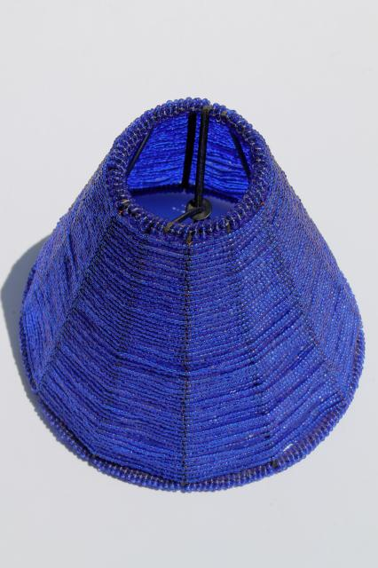 Vintage beaded wire lamp shade made in india cobalt blue glass seed vintage beaded wire lamp shade made in india cobalt blue glass seed bead candle shade aloadofball Choice Image